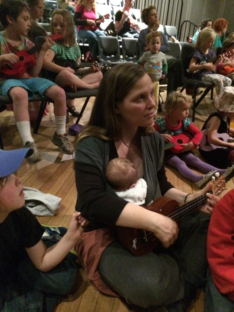 Mother and baby at ukulele workshop